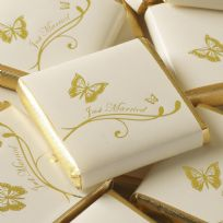 Elegant Butterfly Just Married Chocolate Squares - Ivory & Gold (50)